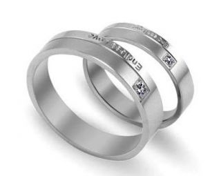 Stainless Steel Endless Love Engraved w/CZ Wedding Band Couple Rings