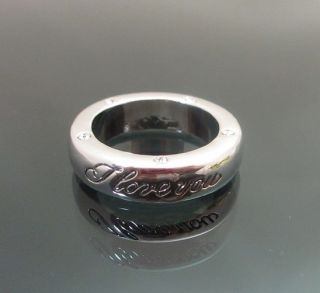 Vintage Silver Tone I Love You Engraved Ring Clear Swarovski Crystals