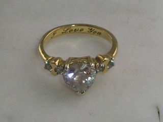 Gold on 925 Silver CZ Cluster Engraved I Love You Ring Size N
