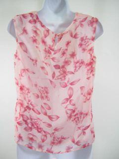 Louis Feraud Pink Floral Silk Tank Top Shirt Size 6