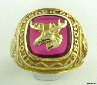 Loyal Order of the Moose Red Stone Ring   10k Yellow Gold Vintage Band
