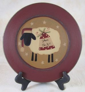 Primitive Wooden Christmas Sheep Share The Joy Plate