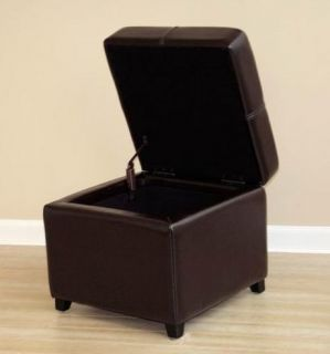 Dark Brown New Leather Storage Cube Ottoman Footstool