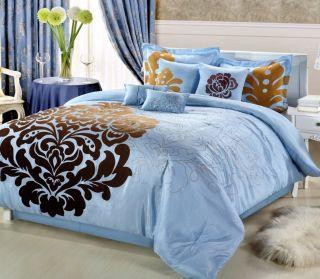 8PC Luxury Bedding Comforter Set Lakhani Brown Blue