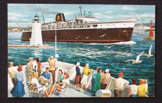 1950s C O Railroad Ferry Kewaunee Wi Ludington MI PC