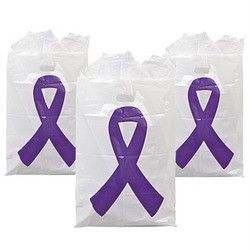 Purple Ribbon Plastic Treat Bags P5 Relay for Life Cancer Lupus