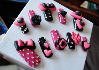 3D KAWAII JAPANESE CUTE DECALS HOT PINK n BLACK PUNK STAR, ROSES, BOW