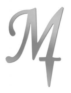 Mirror Monogram Letter M for Wedding Cake Topper