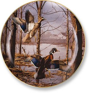 David Maass Misty Morning Revisited Wood Ducks Collector Plate