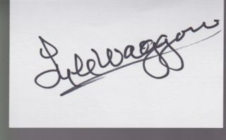 Lyle Waggoner Autograph Index Card Hunk Actor Signed Signature COA