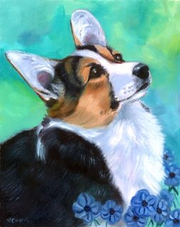 Corgi Puppy Beautiful Original Fine Art Oil Painting by Lyn