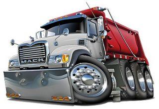 Mack Dump Truck Cartoon Tshirt New