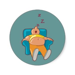 Cartoon Man Sleeping In Chair ZZZ Sticker