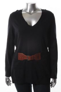 Michael Kors New Navy V Neck Long Sleeve Belted Tunic Sweater Top M