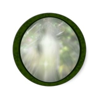 crystal angel 2 green envelope seals round stickers