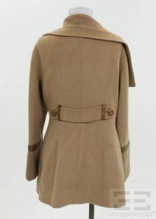 Mackage Camel Wool Rib Knit Trim Asymmetrical Zip Front Coat Size
