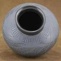 Mata Ortiz Polychrome Etched Black Dazzler Pottery Vase