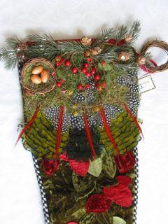 Mackenzie Childs Large Woodland Stocking Christmas Cabin Lodge Decor