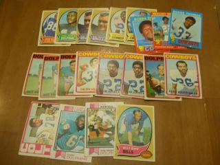 Vintage Football 33 Card Lot 1972 Roger Staubach Rookie 1970 OJ