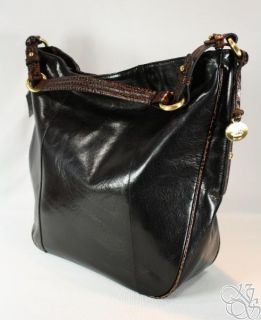Brahmin Lydia Black Tuscan Large Hobo Bag Purse New