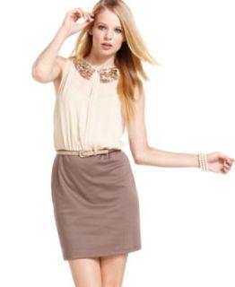As U Wish Juniors Dress, Sleeveless Sequin Blouson   Juniors Dresses