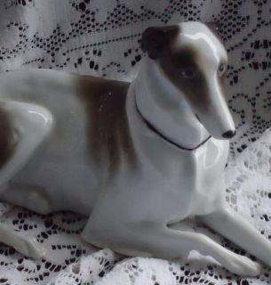 Vintage German Germany Borzoi Russian Wolfhound Lying Dog Figurine