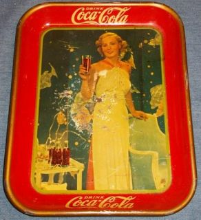 1935 Coca Cola Tray Madge Evans MGM Actress Vintage Coke