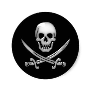 Glassy Pirate Skull & Sword Crossbones Stickers