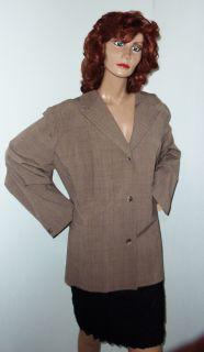 Maggie Barnes Plus Size 34W 4X Brown Tweed Blazer Jacket Top Blouse
