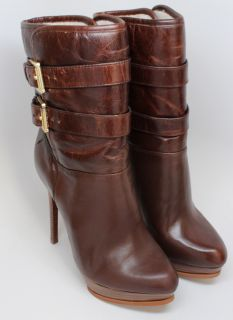 Michael Kors Womens Mae Buckle Platform Stiletto Mid Calf Brown Boot