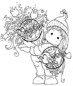 Magnolia Tilda with A Big Bouquet Rubber Stamp A Christmas Story 2012