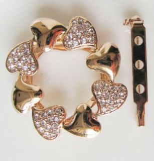 Rose Heart Scarf Clip Also Brooch Gold GF Swarovski Crystal Wedding