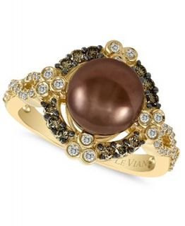Le Vian 14k Gold Ring, Chocolate Cultured Tahitian Pearl (9 10mm) and