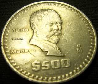 1988 $500 Peso Madero Mexican Coin RARE Nice Mexico