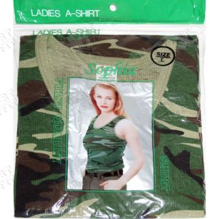 Womens A Shirt Camo Camouflage Large L 38 40 Ribbed Tank Top Shirt