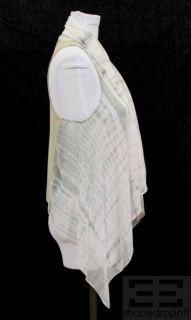 Maggie Ward Tan Leather Grey Tie Dye Silk Open Front Vest Size XS