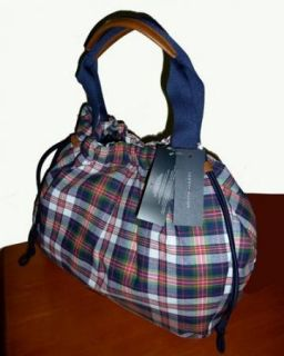 NWT Madras Tommy Hilfiger Plaid Navy Red White Tote Handbag Purse Bag