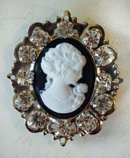 Melissa Frances Crystal Rhinestone Jewelry Brooch Pin Crystal Cameo