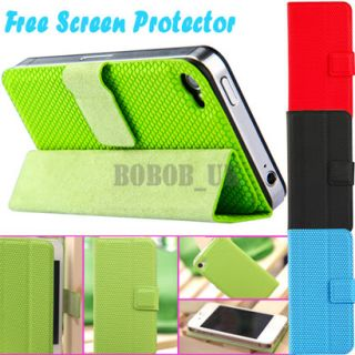 Stylish Magnetic Mini Smart Case Stand Cover For iPhone 4 4S + Screen