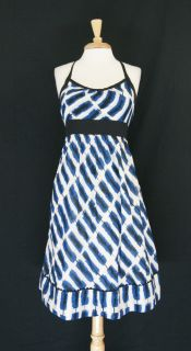 Anthropologie Maeve Blue White Cotton Striped Halter Dress Size 2