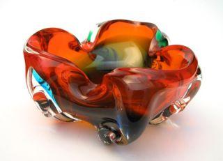 MAGNIFICENT VINTAGE ITALIAN MURANO ART GLASS BOWL VIBRANT ORANGE GREEN