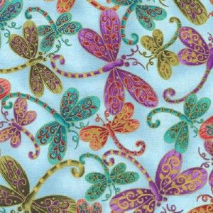 Dragonfly Magic on Lt Blue Met Gold Cotton Quilt Fabric