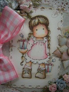Hand Made Christmas Card Magnolia Tilda with Tag Gifts ♥