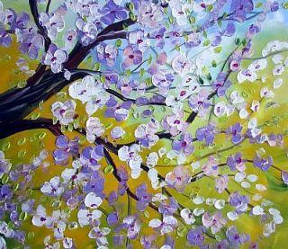 Painting XLarge 48x36 Spring Magnolia Tree Art by Luiza Vizoli