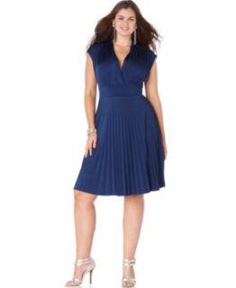 Mai Tai New Navy Matte Jersey Surplice Pleated A Line Casual Dress