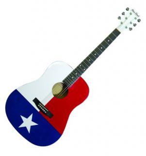 Main Street Texas Flag Dreadnought Acoustic Guitar