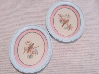 Lovely Homco Oval Bird Pictures Shabby Cottage Chic