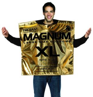 Trojan Magnum Condom Wrapper Funny Adult Mens Halloween Costume
