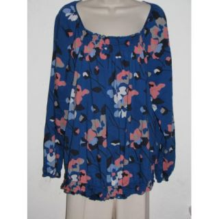 Old Navy Blue Floral Scoop Neck Light Loose Long Sleeve Tunic Top Size