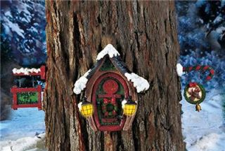 PC Solar Lighted Christmas Gnome Reindeer Door Set Cute for Tree